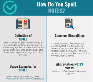 Correct spelling for notes