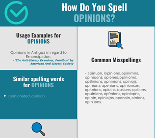 Correct spelling for opinions