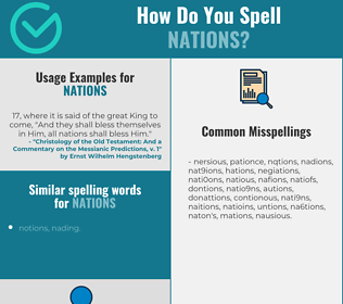 Correct spelling for nations