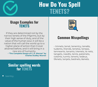 Correct spelling for tenets