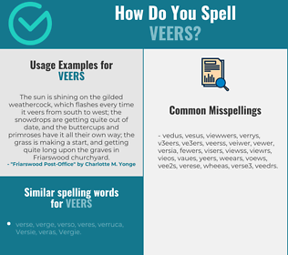Correct spelling for veers
