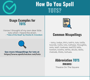 Correct spelling for TOTS