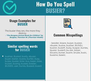 Correct spelling for BUSIER