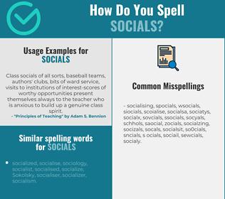 Correct spelling for socials