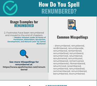 Correct spelling for renumbered