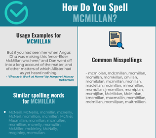Correct spelling for McMillan