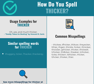 Correct spelling for thicker