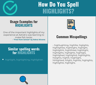 Correct spelling for highlights