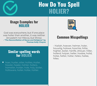 Correct spelling for holier