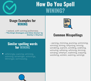 Correct spelling for wining