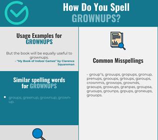 Correct spelling for grownups