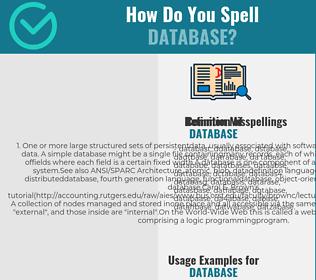 Correct spelling for database