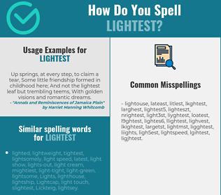 Correct spelling for lightest