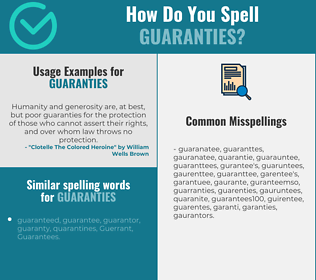 Correct spelling for guaranties
