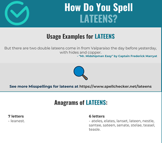 Correct spelling for lateens