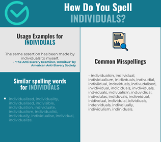 Correct spelling for individuals