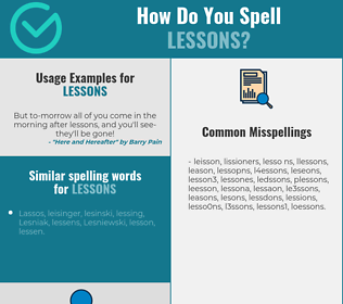 Correct spelling for lessons