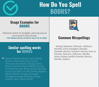 Correct spelling for boors