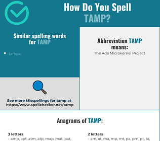 Correct spelling for tamp