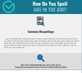 Correct spelling for are in the air
