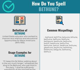 Correct spelling for bethune