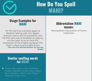 Correct spelling for Mahi