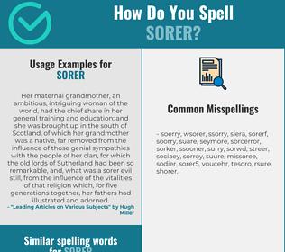 Correct spelling for sorer