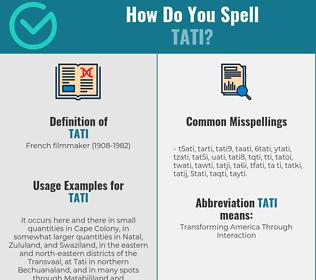 Correct spelling for tati