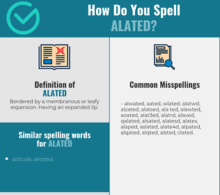 Correct spelling for alated