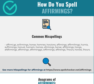 Correct spelling for affirmings