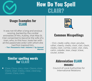 Correct spelling for Clair