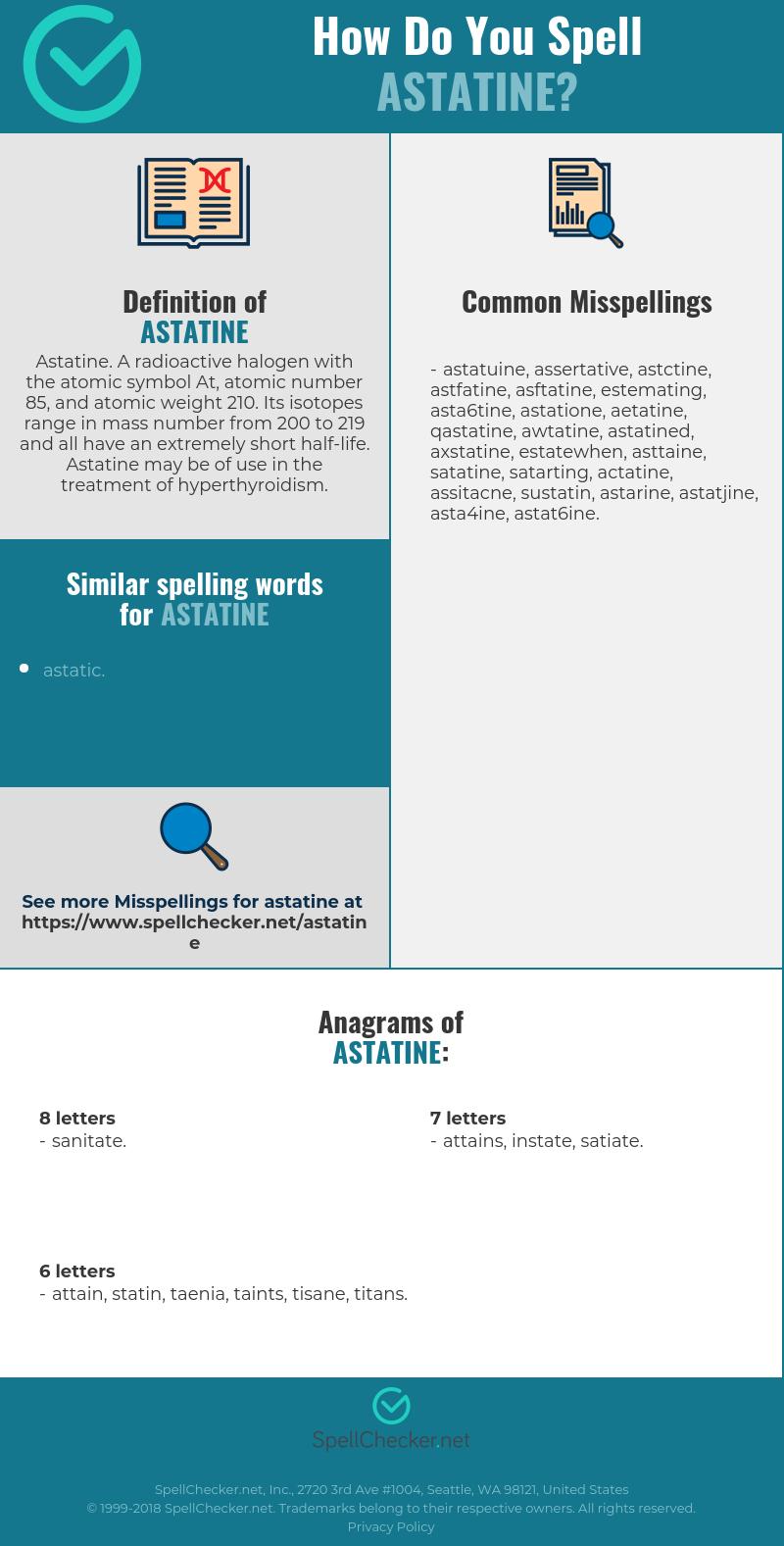 Correct spelling for astatine [Infographic]   Spellchecker net