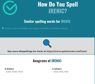 Correct spelling for irenic