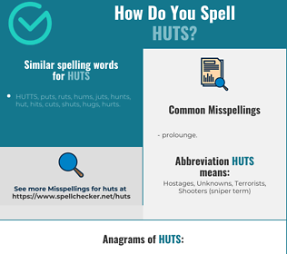 Correct spelling for huts