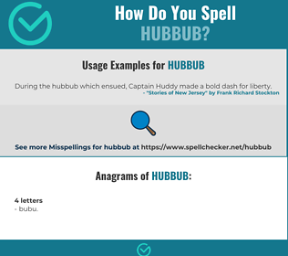 Correct spelling for hubbub
