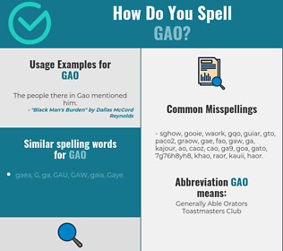 Correct spelling for GAO
