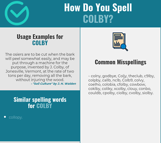 Correct spelling for Colby