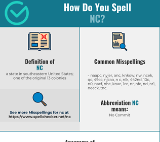 Correct spelling for nc
