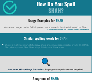 Correct spelling for shah