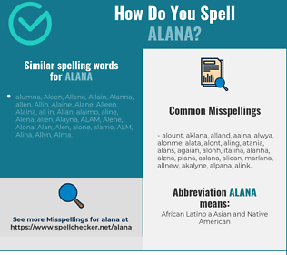 Correct spelling for Alana