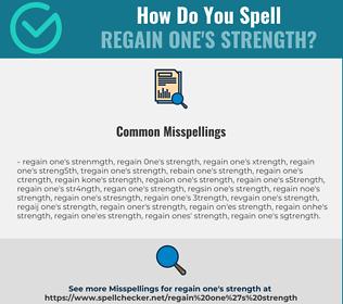 Correct spelling for regain one's strength