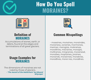 Correct spelling for moraines