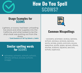 Correct spelling for scows