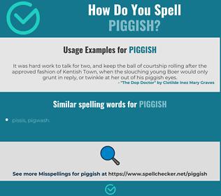 Correct spelling for piggish