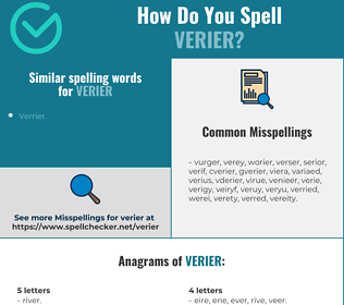 Correct spelling for verier