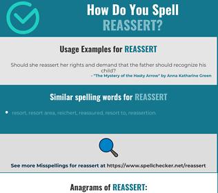Correct spelling for reassert