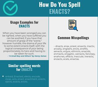 Correct spelling for enacts