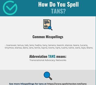 Correct spelling for TANS