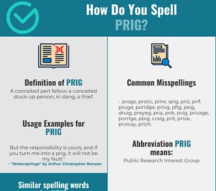 Correct spelling for prig