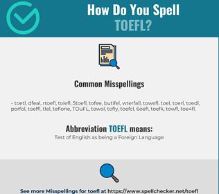 Correct spelling for TOEFL